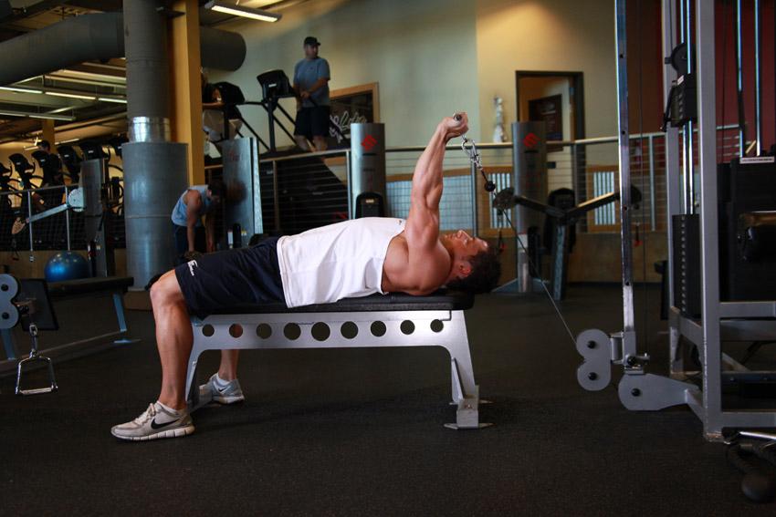Extensii la cablu din culcat pentru triceps